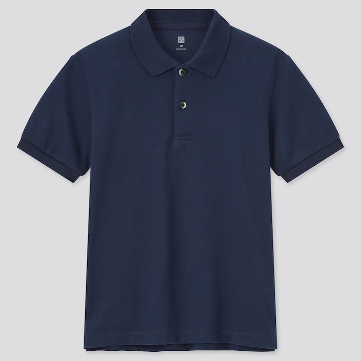 Kids Dry Pique Short-Sleeve Polo Shirt (Online Exclusive), Navy, Large