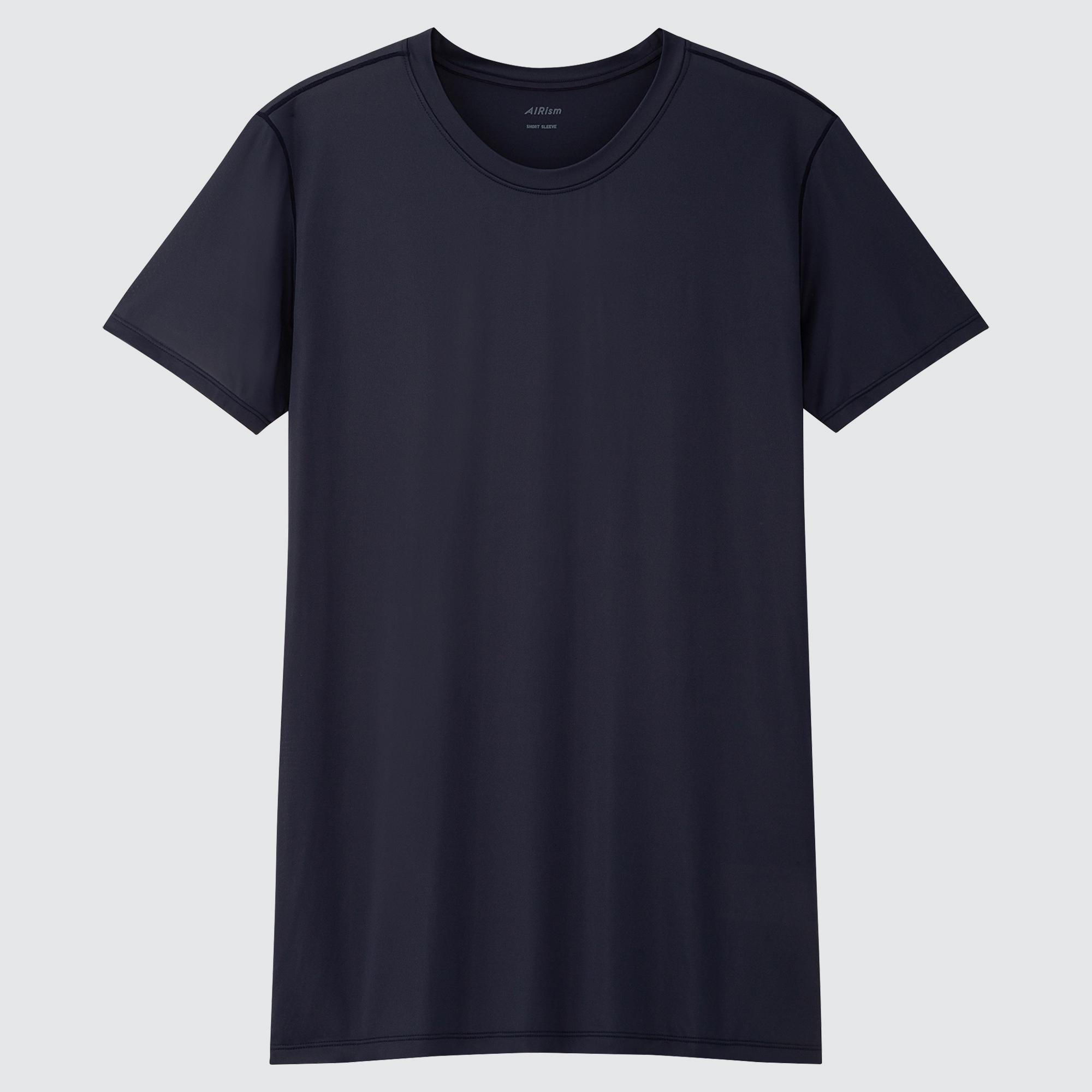MEN AIRism CREW NECK SHORT-SLEEVE T-SHIRT : Color - 09 Black, Size - XL (434169)