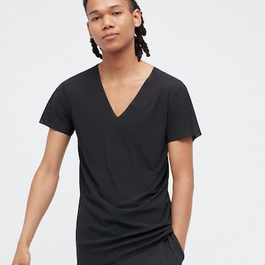 Men Airism Micro Mesh V-Neck Short-Sleeve T-Shirt, Black, Medium