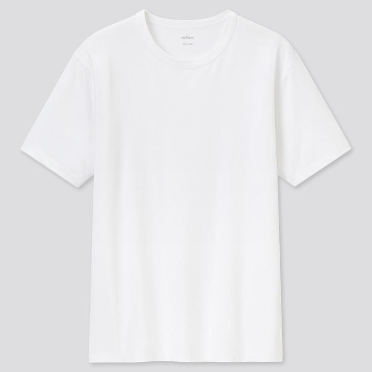 Men Airism Cotton Crew Neck Short-Sleeve T-Shirt, White, Large
