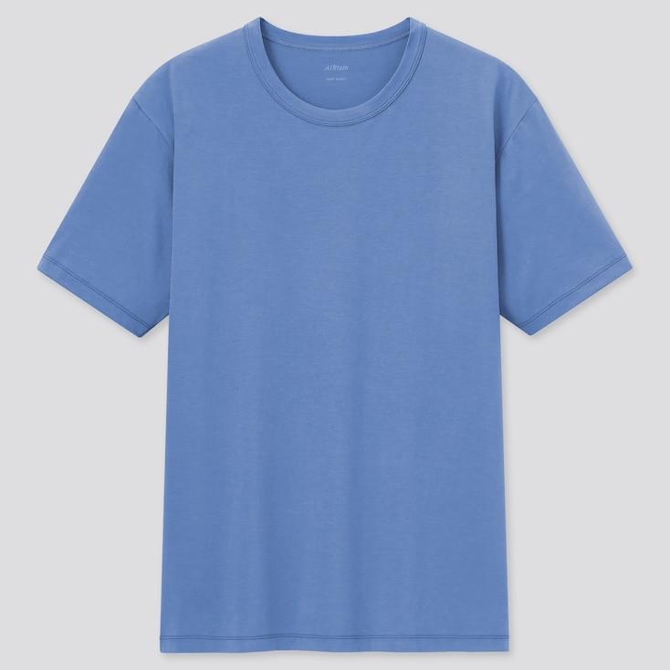 Men Airism Cotton Crew Neck Short-Sleeve T-Shirt, Blue, Large