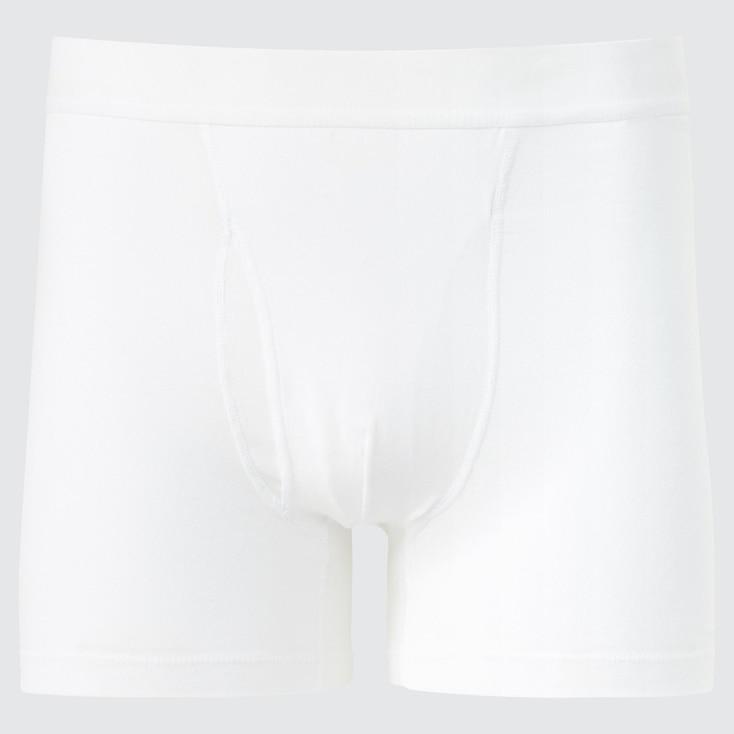 Men Supima© Cotton Boxer Briefs, White, Large