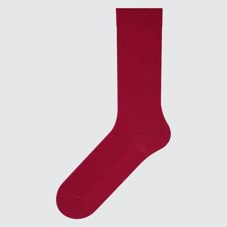 Men Color Socks, Red, Large