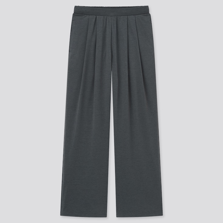 Women Satin Jersey Wide Straight Pants, Dark Gray, Large