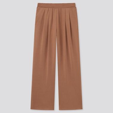 Women Satin Jersey Wide Fit Straight Leg Trousers