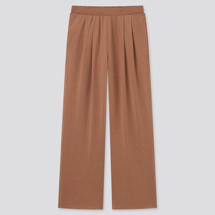 Women Satin Jersey Wide Straight Pants, Dark Orange, Large