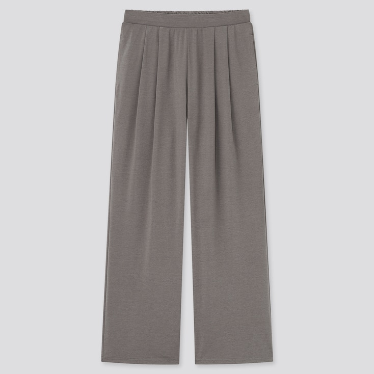Women Satin Jersey Wide Straight Pants, Brown, Large