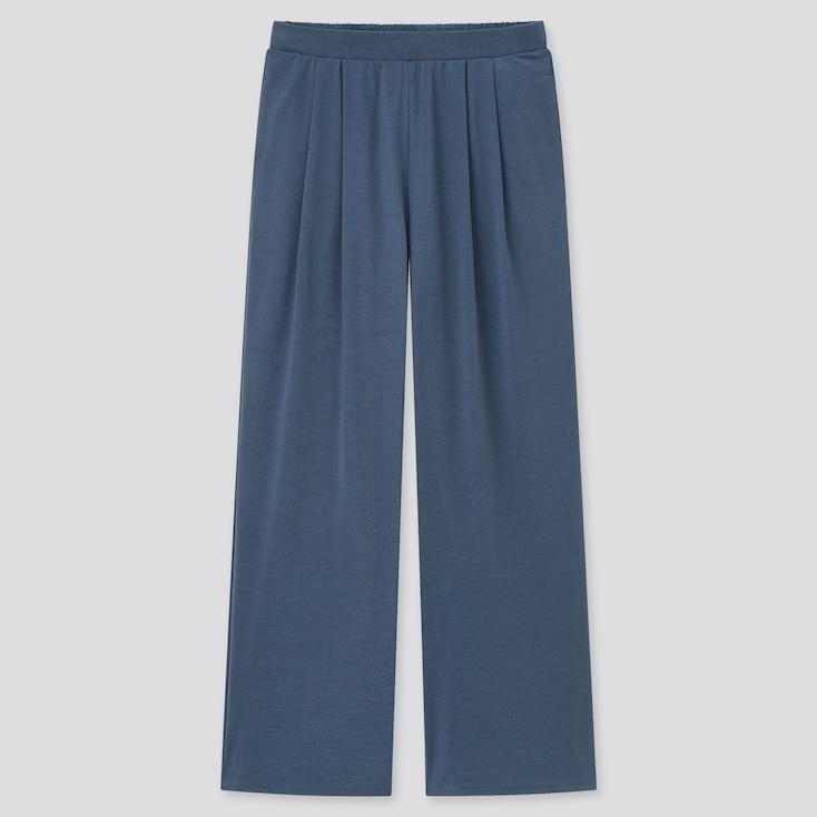 Women Satin Jersey Wide Straight Pants, Blue, Large