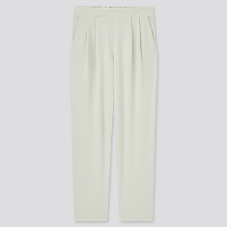 Women Crepe Jersey Tapered Pants, Light Gray, Large