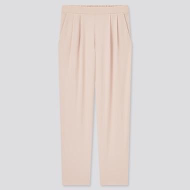 Women Crepe Jersey Tapered Pants, Pink, Medium