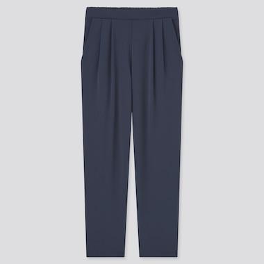 Women Crepe Jersey Tapered Pants, Navy, Medium