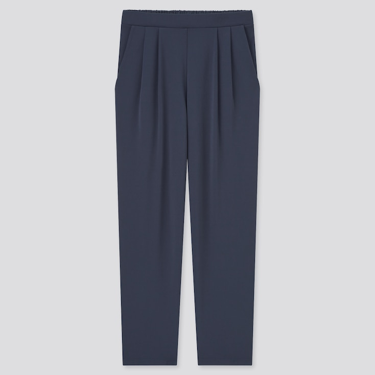 Women Crepe Jersey Tapered Pants, Navy, Large