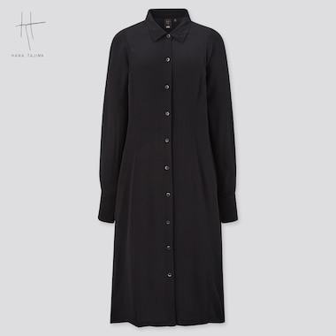 Women Rayon Long-Sleeve Shirt Dress (Hana Tajima), Black, Medium