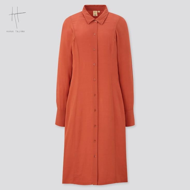 Women Rayon Long-Sleeve Shirt Dress (Hana Tajima), Orange, Large