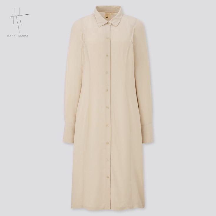 Women Rayon Long-Sleeve Shirt Dress (Hana Tajima), Natural, Large