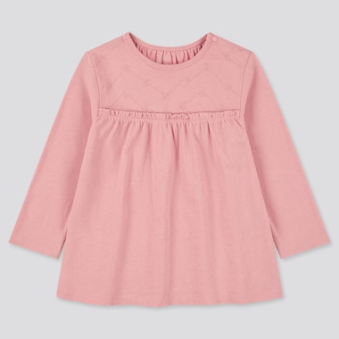 Toddler Crew Neck Long-Sleeve T-Shirt, Pink, Medium