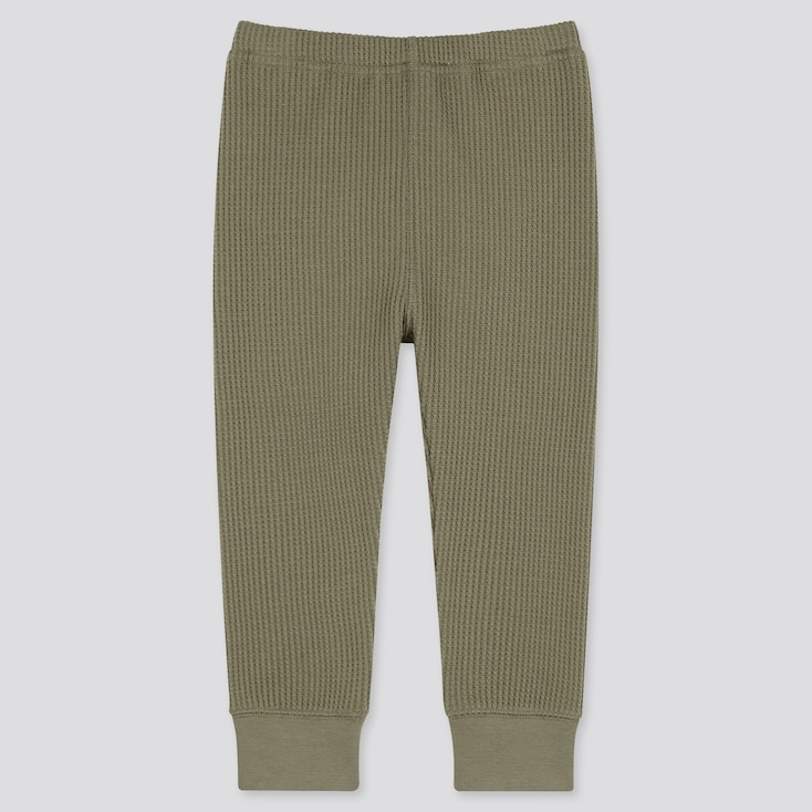 Baby Waffle Ribbed Full-Length Leggings, Olive, Large