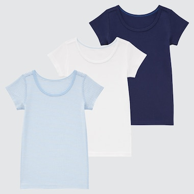 Toddler Cotton Mesh Inner Short-Sleeve T-Shirt (Set Of 3), Blue, Medium