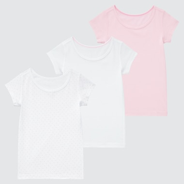 Toddler Cotton Mesh Inner Short-Sleeve T-Shirt (Set Of 3), Pink, Medium