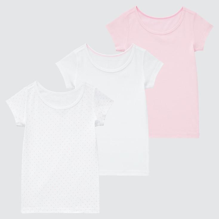 Toddler Cotton Mesh Inner Short-Sleeve T-Shirt (Set Of 3), Pink, Large