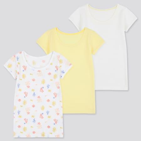 Babies Toddler Cotton Mesh Inner Short Sleeved T-Shirt (Three Pack)