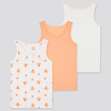 Toddler Joy Of Print  Cotton Mesh Tank Top (Set Of 3), Light Orange, Medium