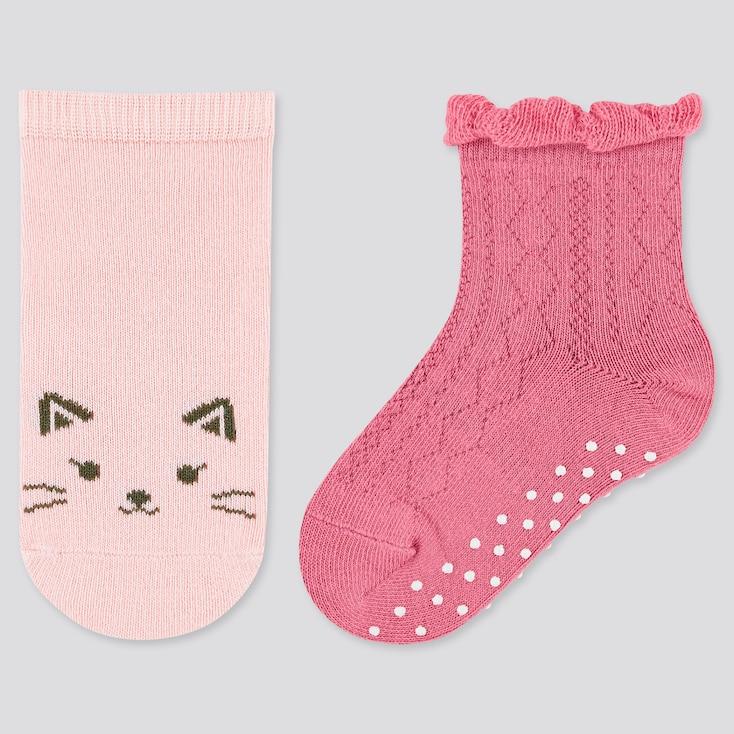 Baby Regular Socks (2 Pairs), Pink, Large