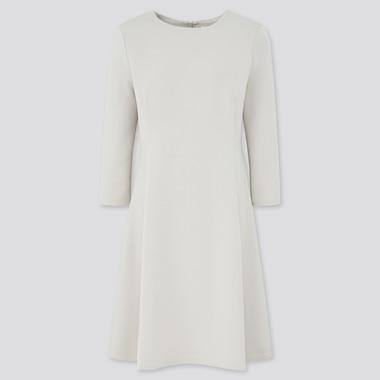 Women Stretch 3/4-Sleeve Flare Dress, Natural, Medium