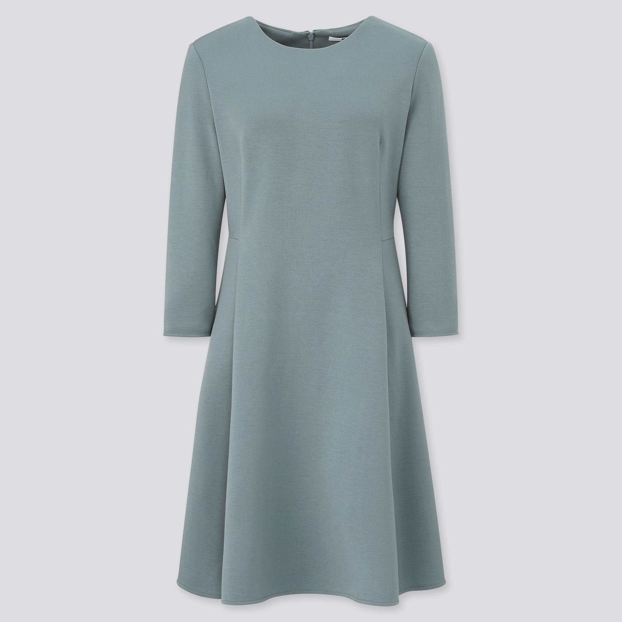women stretch 3/4-sleeve flare dress