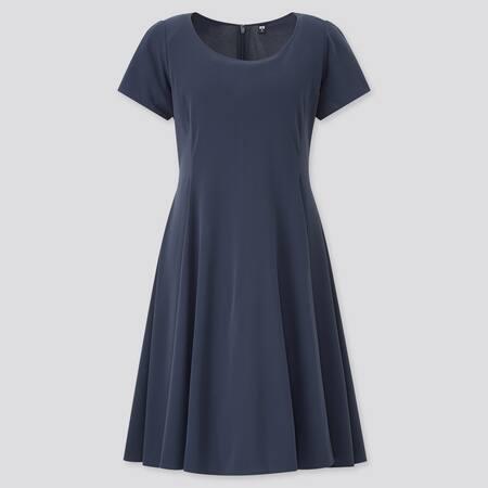 Damen Kurzärmliges ausgestelltes Krepp Jerseykleid