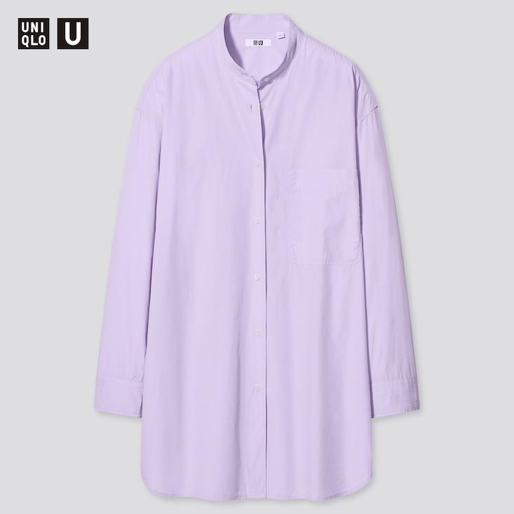 Women U Oversized Long-Sleeve Shirt, Purple, Large