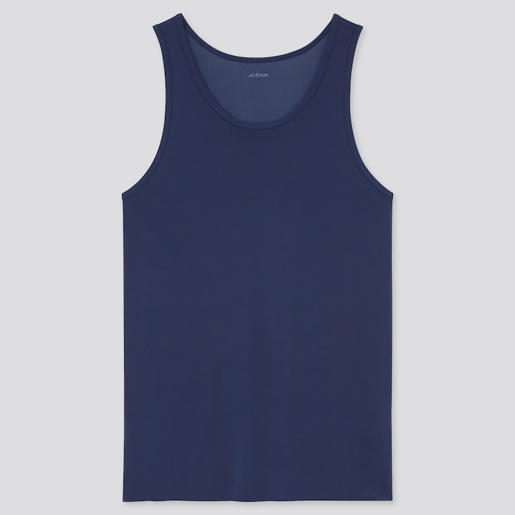 Men Airism Micro Mesh Tank Top, Navy, Large