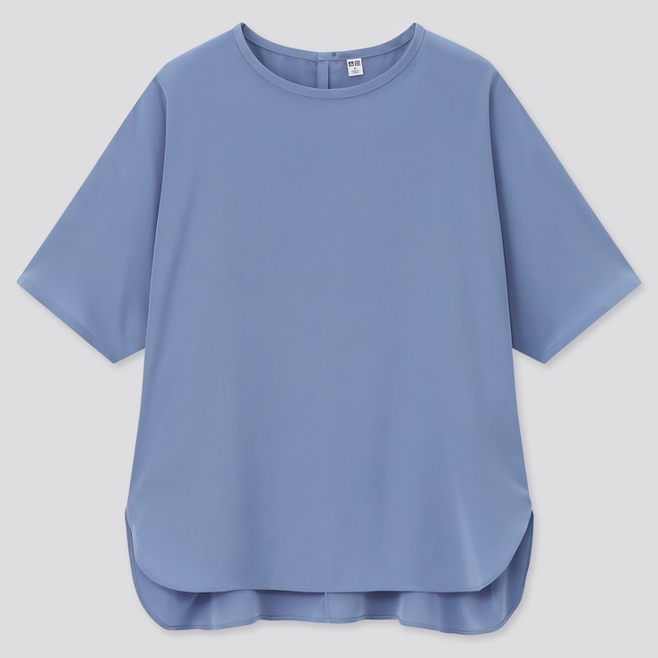 Women Silk Feel Short-Sleeve Blouse, Blue, Large