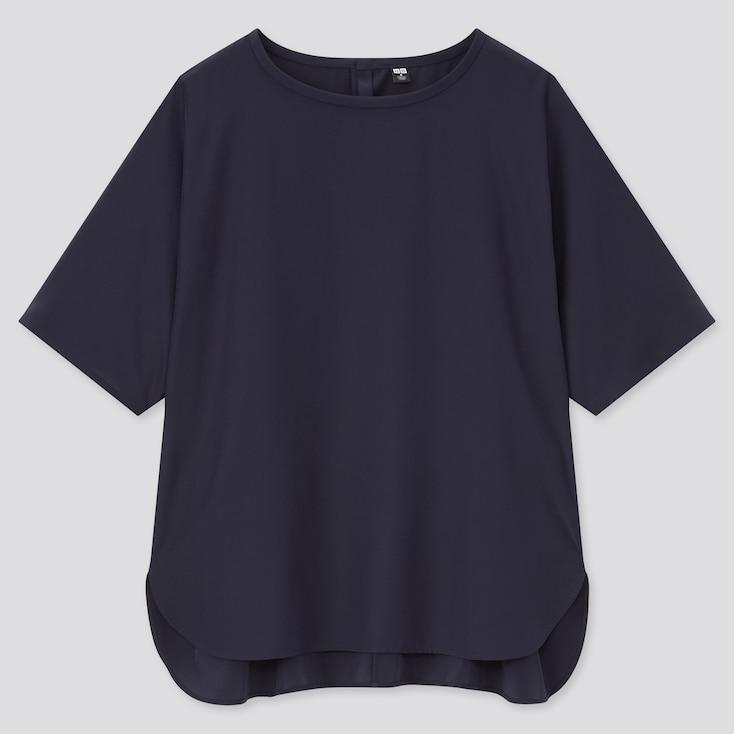 Women Silk Feel Short-Sleeve Blouse, Navy, Large