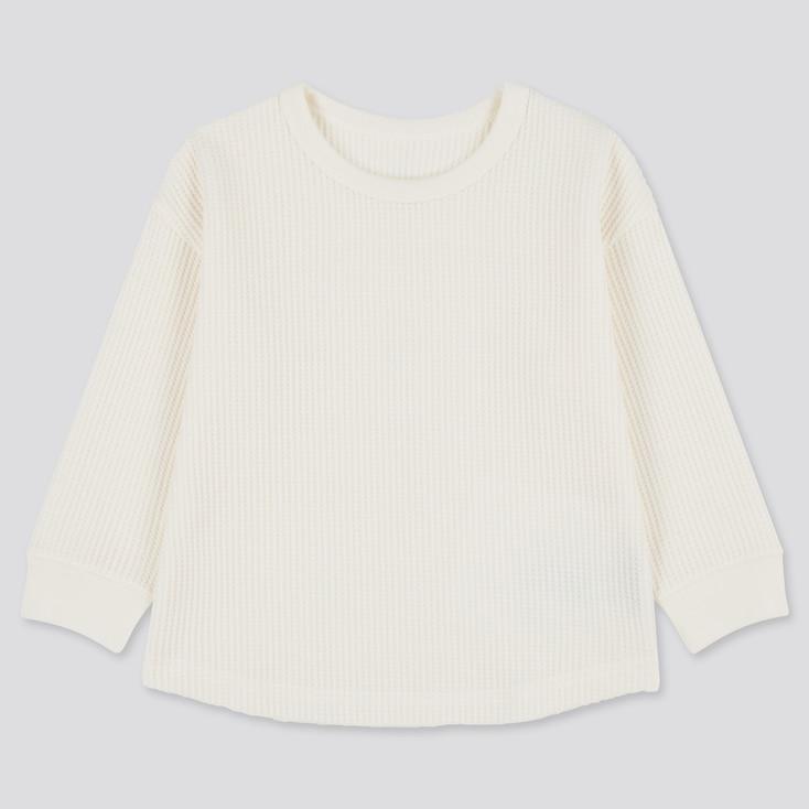 Toddler Waffle Crew Neck Long-Sleeve T-Shirt, Off White, Large