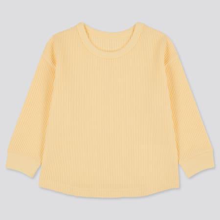 Babies Toddler Waffle Crew Neck Long Sleeved T-Shirt