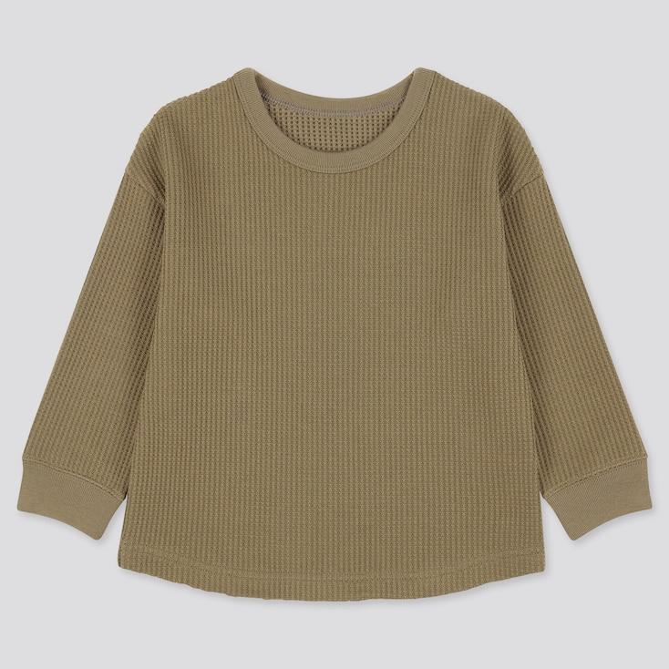 Toddler Waffle Crew Neck Long-Sleeve T-Shirt, Olive, Large