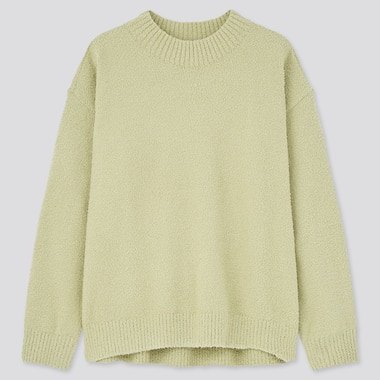 Women Fluffy Soft Mock Neck Jumper