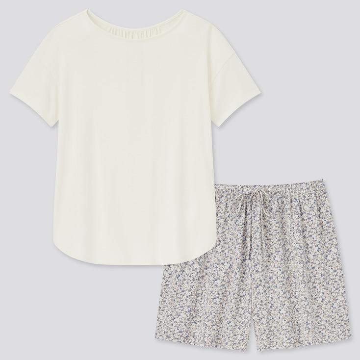 Women Drape Jersey Short-Sleeve Set, Off White, Large