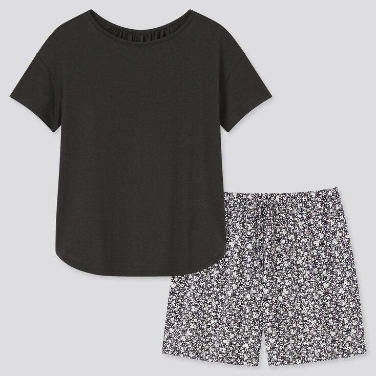Women Drape Jersey Short-Sleeve Set, Black, Large