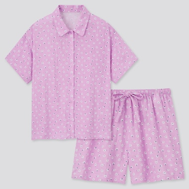 Damen Joy of Print Kurzärmliger Pyjama aus Doppelgaze mit Shorts