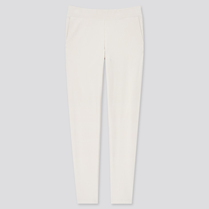 Women Ultra Stretch Ribbed Leggings Pants, Off White, Large