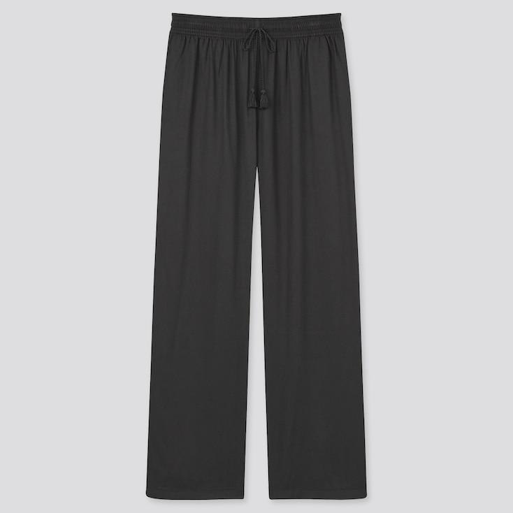 Women Satin Drape Straight Pants, Black, Large
