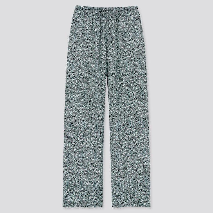 Women Printed Drape Straight Pants, Navy, Large