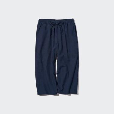 Women Seersucker Relaco 3/4 Shorts, Navy, Medium