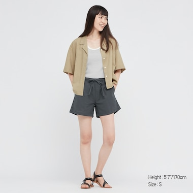 Women Cotton Relaco Shorts, Dark Gray, Medium
