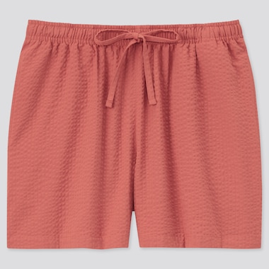 Women Cotton Relaco Shorts, Orange, Medium