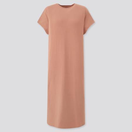 Damen Kurzärmliges Drape Jerseykleid