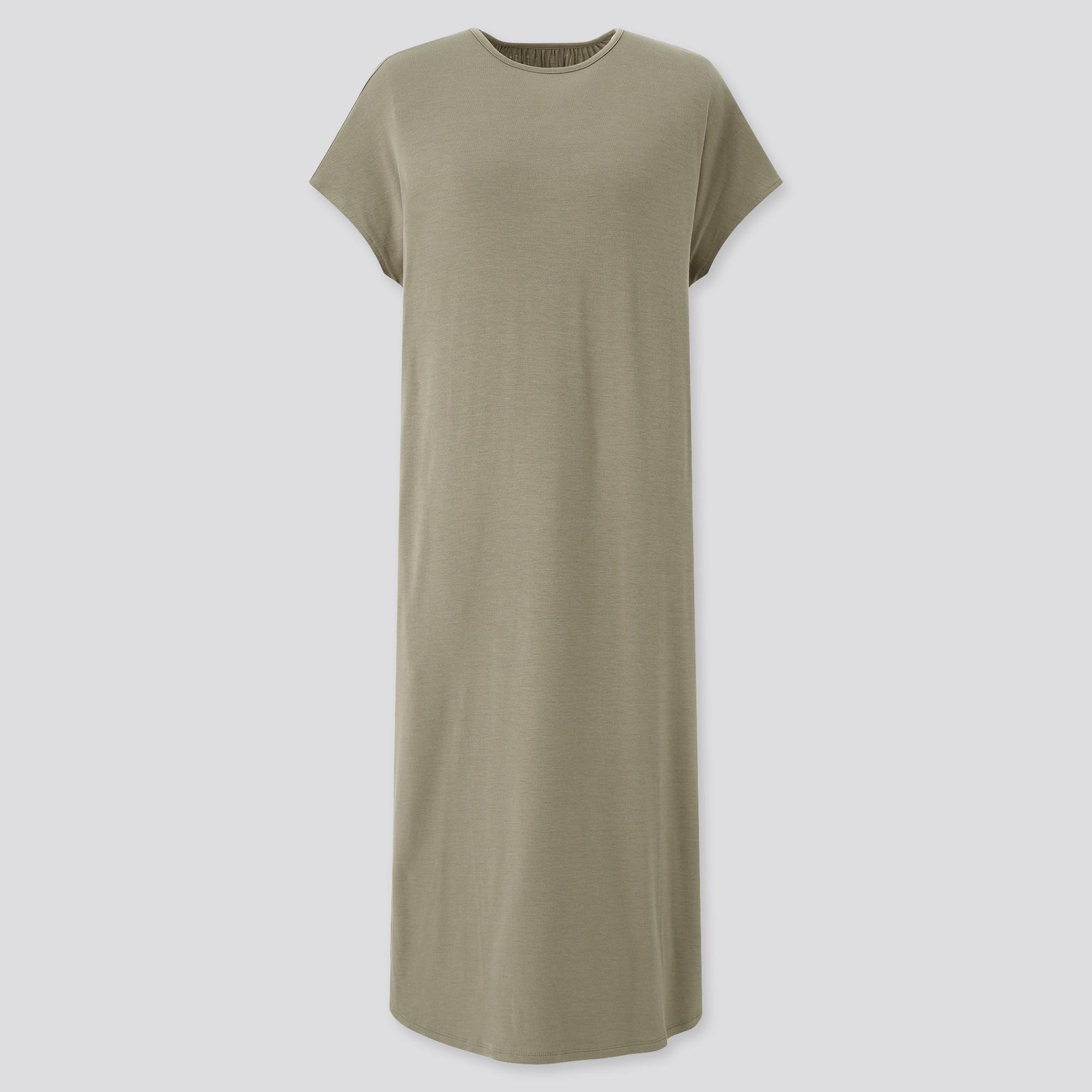 WOMEN DRAPE JERSEY SHORT-SLEEVE DRESS