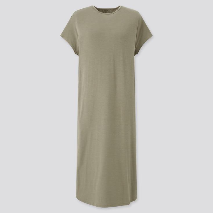 Women Drape Jersey Short-Sleeve Dress, Olive, Large